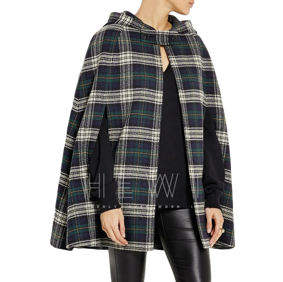 Saint Laurent Hooded plaid wool cape