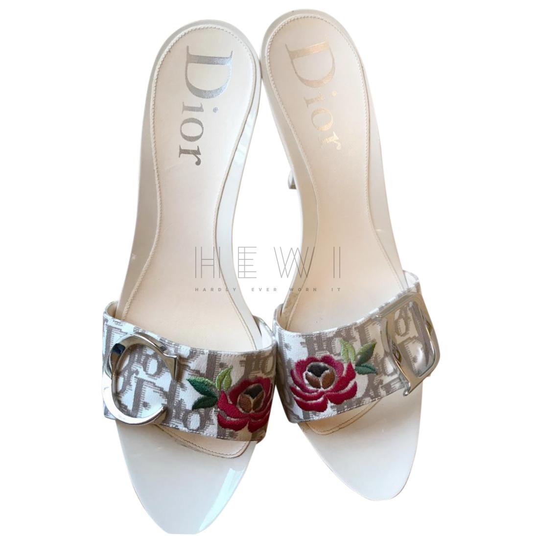 Dior Vintage Floral Embroidered Oblique Mules