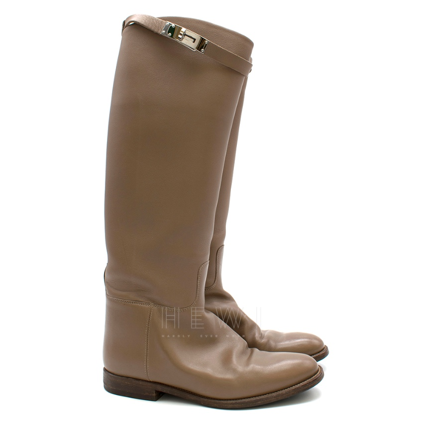 Hermes Taupe Kelly Strap Riding Boots