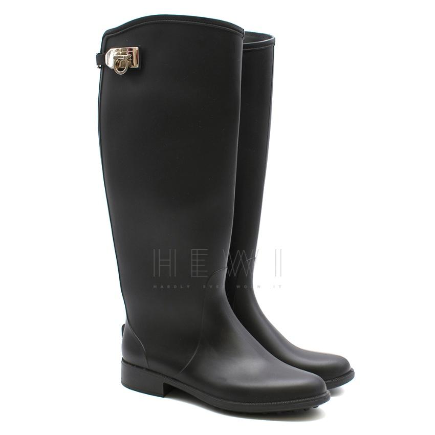 Salvatore Ferragamo Black Ruben Rain Boots