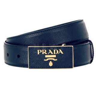 Prada Blue Saffiano Leather Plaque Belt