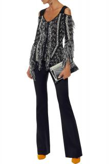 Roland Mouret Burley Cold-shoulder Frayed Tweed Top