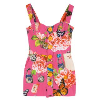 Dolce & Gabbana Pink Corseted Floral Playsuit