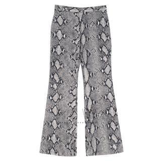 Gucci Grey Python Print Wide Leg Trousers