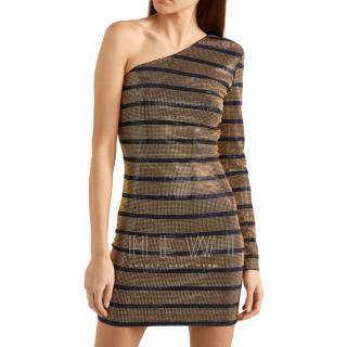 Balmain Gold One Shoulder Crystal Embellished Dress