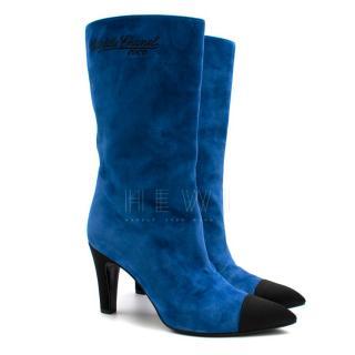 Chanel Blue Suede Gabrielle Cap-Toe Boots