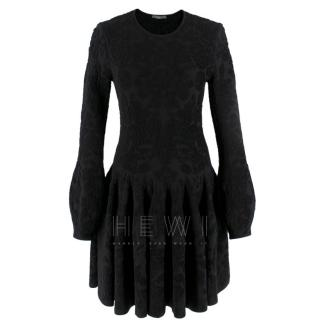Alexander McQueen Black Flocked Velvet Dress