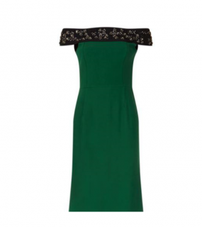 Roland Mouret For Harrods Green Off Shoulder Embellished Dress