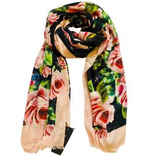 Dolce & Gabbana rose and butterfly cashmere blend large scarf