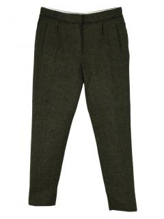 Mulberry dark green wool fleece and alpaca skinny trousers