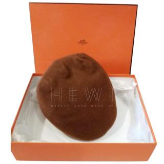 Hermes Chesnut Brown Cashmere Flat Cap