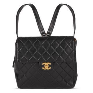 Chanel vintage black quilted lambskin backpack