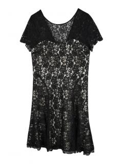 DVF short black lace dress