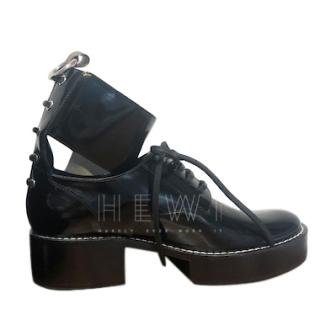 Louis Vuitton Black Patent Cut-Out Lace-Up Chunky Boots