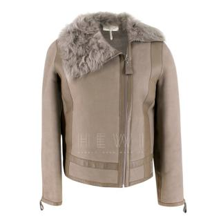 Hermes Asymmetric Suede & Shearling Jacket With Lambs Fur Collar