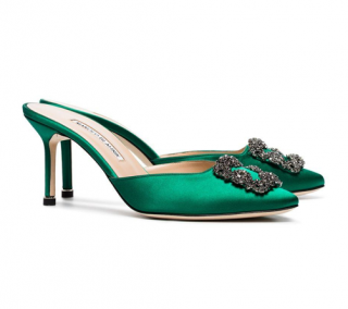 Manolo Blahnik Green Satin Hangisi 70mm Mules