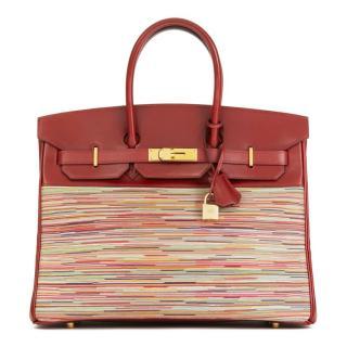 Hermes Box Leather Vibrato Rouge 35cm Birkin Bag