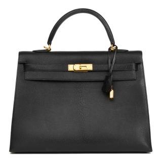 Hermes Black 35cm Kelly Sellier Bag