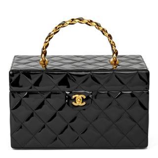 Chanel vintage  black quilted patent vanity case