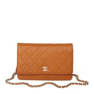 Chanel quilted caviar leather Wallet on chain