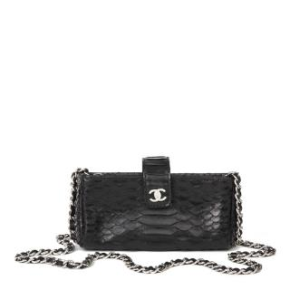 Chanel black python crossbody pouch on chain bag