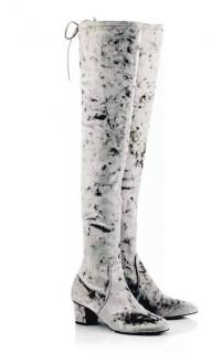 Charlotte Olympia silver velvet Sky High over the knee boots
