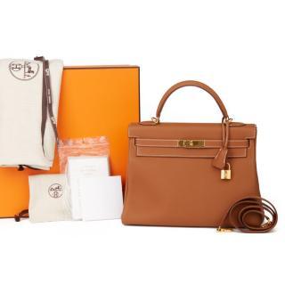 Hermes 32cms Gold Kelly Retourne Bag