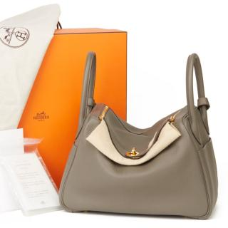 Hermes Etain 30cm Lindy Bag in Clemence Leather