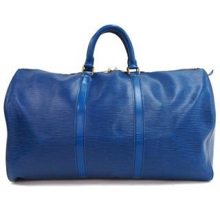 Louis Vuitton Blue Epi Leather Boston Keepall