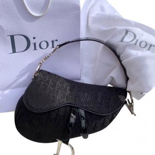 Christian Dior Black Monogram Saddle Bag