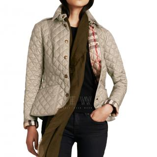 Burberry Blue Diamond Quilted Jacket in Pale Fawn