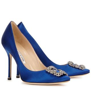 Manolo Blahnik Blue Satin Hangisi 105 Pumps