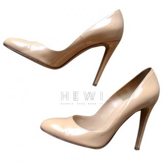 Gianvito Rossi beige leather heeled pumps