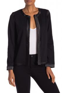 Prada Black VIrgin Wool Boxy Satin Trim Jacket