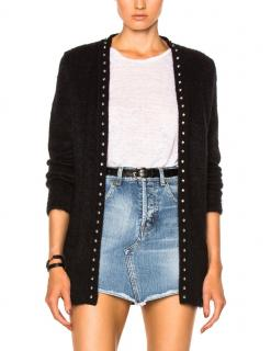 Saint Laurent Black Studded Mohair Blend Longline Cardigan