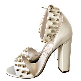 Elie Saab ivory heeled studded sandals
