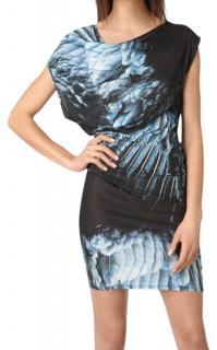 Helmut Lang abstract bird print jersey dress