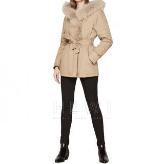 Maje khaki beige cotton fur trimmed  parka