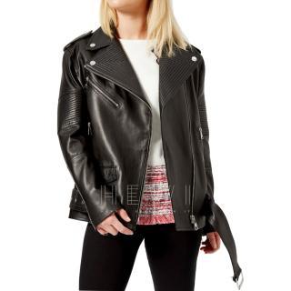 Karl Lagerfeld oversized black leather biker jacket