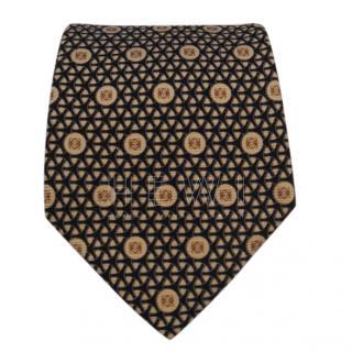 Loewe black and gold silk tie