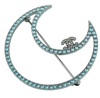 Chanel blue crystal crescent moon brooch
