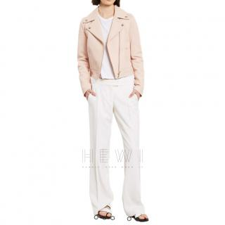 Yves Salomon Pale Pink Leather Biker Jacket