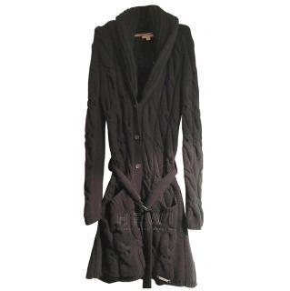 Burberry Black Open Knit Cashmere & Wool Longline Cardigan