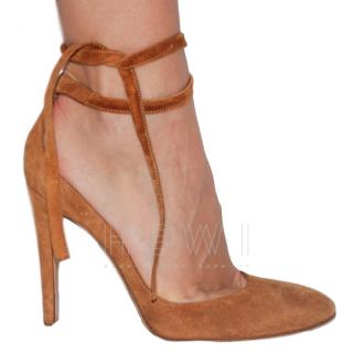 Gianvito Rossi Suede Camel Ankle Wrap Pumps