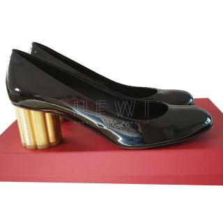 Salvatore Ferragamo Black Patent Flower Heel Pumps