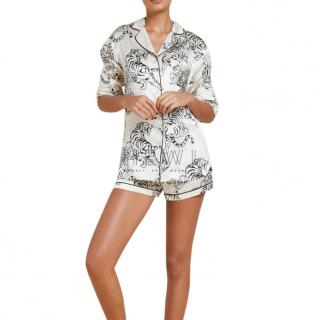 Olivia Von Halle White Tiger Print Silk Shirt
