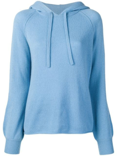 Vince Knitted Cashmere Hoodie In Blue