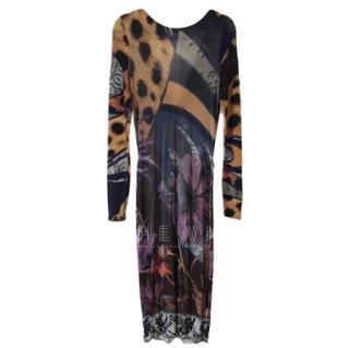 Class Cavalli Multi-Print Wrap Style Midi Dress