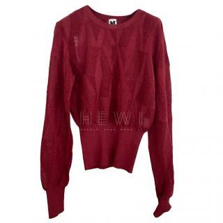 M Missoni Burgundy Knit Jumper