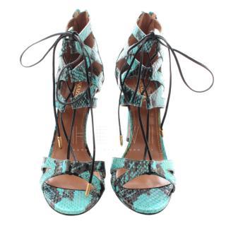 Aquazurra Elaphe Snakeskin Beverley Hills Sandals